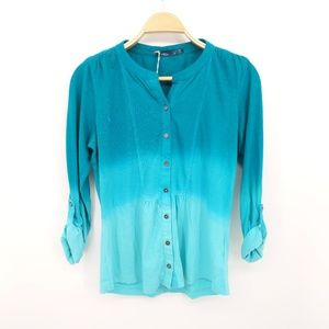 Prana Size Small Amber Shirt Tidal Teal Ombre